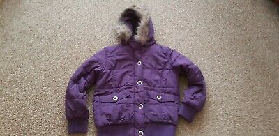 Girls Padded Jacket With Detachable Hood Age 9-10 Years