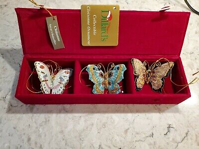 Dillards Cloisonne Butterflies set of 3 Ornaments