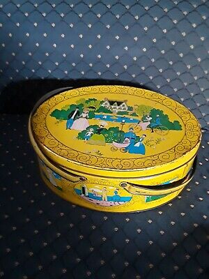 Vintage Oval Yellow Metal TIN LUNCH BOX OR SEWING BOX