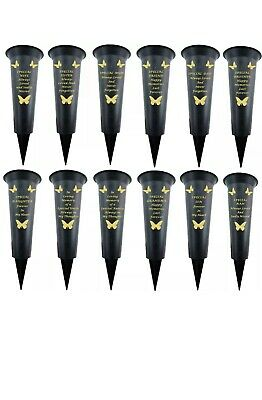 Graveside Memorial Spiked Flower Vases with Gold Lettering Butterfly
