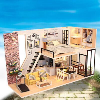 DIY LED Wooden Dollhouse Miniature Wooden Furniture Kit Doll House Kid's Toy OZ
