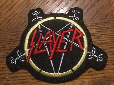 "Slayer Embroidered Iron On Applique Patch 4""x3.25"" Metal Band Rock"