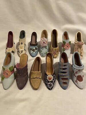 Lot Of 13 Ceramic Small Decorative Shoe Collection