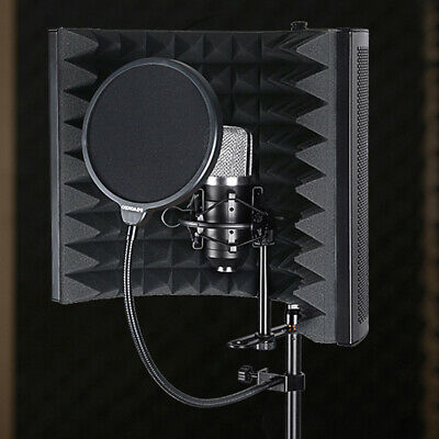Noise Reduction Microphone Windscreen Foldable Studio Recording Isolation Shield