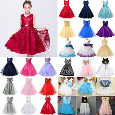 Kid Girls Baby Princess Dress Party Wedding Bridesmaid Lace Tulle Frilly Dresses