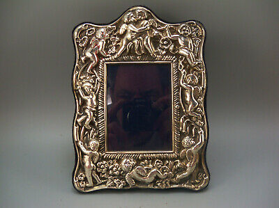 Vintage Sterling Silver Repousse Cherub Picture Photo Frame Carrs Sheffield