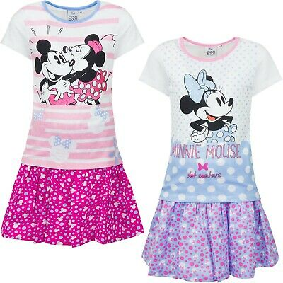 Girls Kids Disney Minnie Mouse Tshirt And Skirt Summer Set  Age 2-8 years