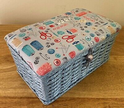 SEWING BASKET BOX 'STITCH IN TIME' DESIGN Extra Small SUPER QUALITY