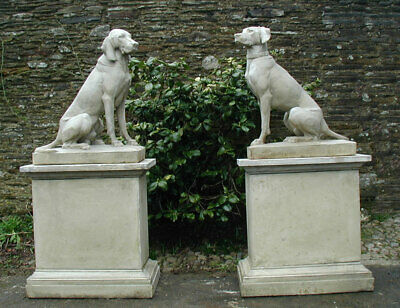 Wonderful Pair of Weathered Garden Stone Statues of Hunting Dogs on Plinths