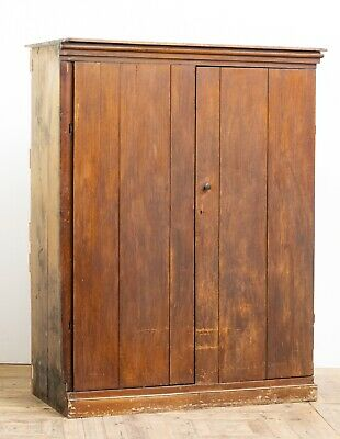 Large Georgian 18th Century Scumbled Pine Two Door Cupboard with Original Paint
