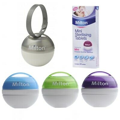 MILTON Mini Travel Baby Soother Teat Dummy Steriliser + FREE Sterilising Tablets