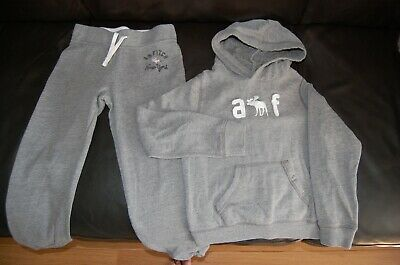 Abercrombie Hoodie and Jogging Bottoms Grey Girls Age 7-8 VGC