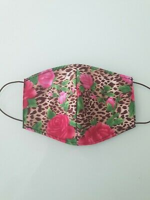 Adult leopard print rockabilly Fabric cotton face mask homemade 3 layer washable