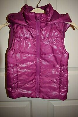 New Girls Purple Hooded Gillet Size 2-3 Years