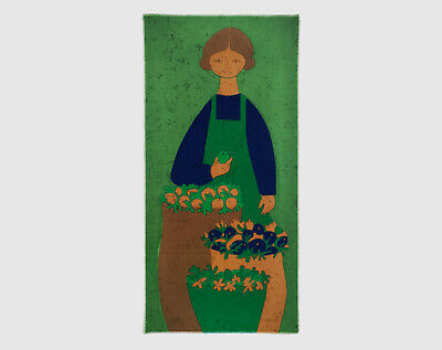Vintage Retro 1960s HUGE Green Greengrocer Girl Fabric Wall Hanging - Signed