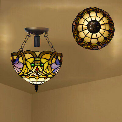 Antique Design Tiffany Style Ceiling Lamp High Quality Hand Made Stained Glass