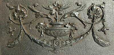Decorative late Victorian cast iron plaque / panel Adam style flowers, urn swags
