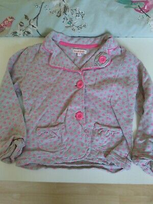 Bluezoo Girls Jacket 4-5 Years Grey With Pink Spots