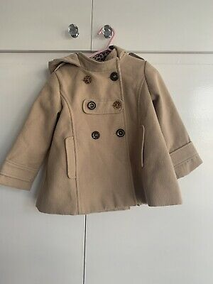 Next Girls Camel Hooded Coat Age 2-3 Years Double Breasted Jacket Leopard Libing