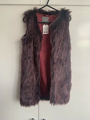 Brand New With Tags Bnwt Next Purple Mauve Faux Fur Gillet Size 11 Years Jacket