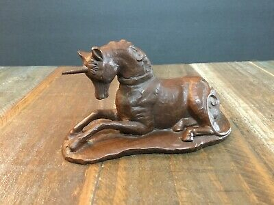 Vintage Hand Carved Wood Unicorn Figure sculpture