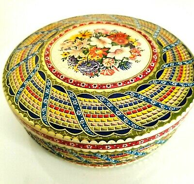 Vintage Metal Tin Holland Embossed Floral Container Round with Lid Mosaic 8 in