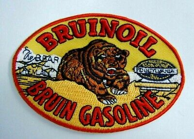 "BRUINOIL- Bruin Gasoline Embroidered Iron-On Uniform-Jacket Patch 3.5"" Oval"