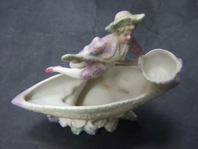 Antique Austrian German Porcelain Bisque Boy Figurine in Boat Vintage 1900's