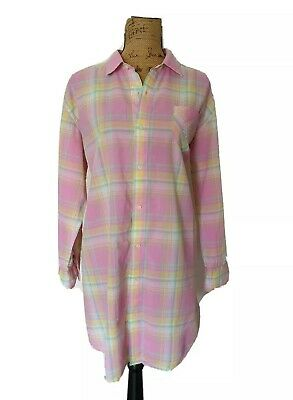 Ralph Lauren Women Pink Plaid Boyfriend Sleep Shirt Nightgown Pajamas Size L