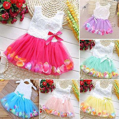 Flower Kids Girls Frilly Princess Party Prom Tutu Tull Lace Bow Swing Dress New