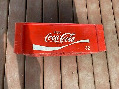 Vintage 32 Oz Coca Cola Coke Crate Plastic Red White Divided Carrier Stacking