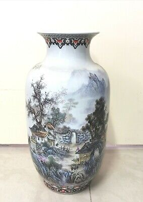 Beautiful Mountains and Trees Chinese Antique Vase Height 57cm
