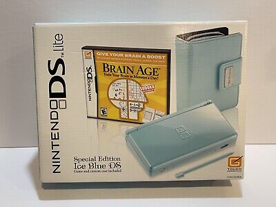 Brand New In Box Nintendo DS Lite Limited Edition Ice Blue with Brain Age Game