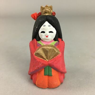 Japanese Clay Bell Vtg Dorei Ceramic Doll Red Hina Doll Kimono Empress DR238