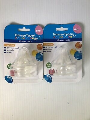 2 Packs Of 2 Tommee Tippee Silicone Teats BPA Free