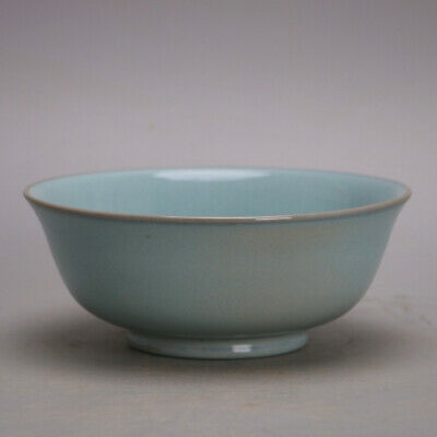 """7.1""""Collect China Song Dynasty Porcelain Green Glaze Support Pin Large Size Bowl"""