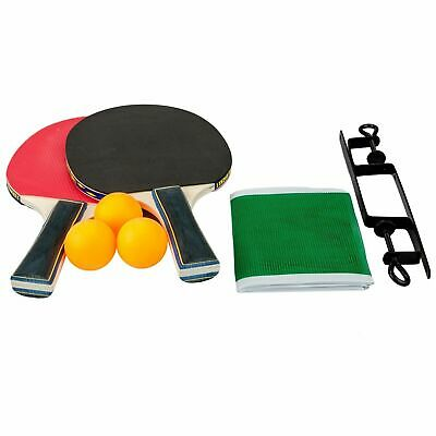 Table Tennis Complete Family Set 2 Paddle Bats 3 Ping Pong Balls Net With Clamps