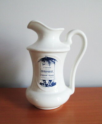 "Beauceware Pioneer Prints Pitcher Tall 8"" Blue White Advertising Beauce Canada"