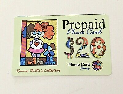 ROMERO BRITTO's COLLECTION PREPAID PHONE CARD The Red Hair Girl & Dog MINT 💕