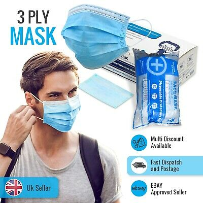 50/100/1000 X Face Mask 3-Ply Breathable Blue Disposable Non Surgical /Medical