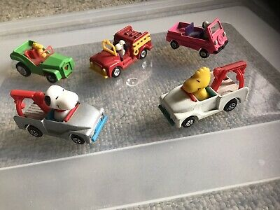 Vintage Aviva Diecast Snoopy & Woodstock Vehicles Lot Of 5