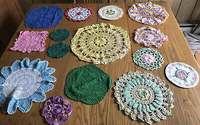 Selection of 15 Colorful Vintage Hand Crocheted Doilies