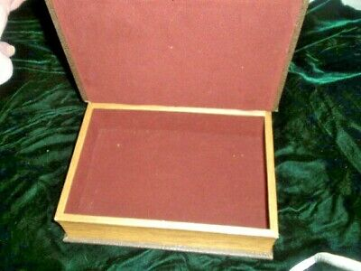 Large Faux Antique Blue Leather Book Box, Fabric Felt Lined