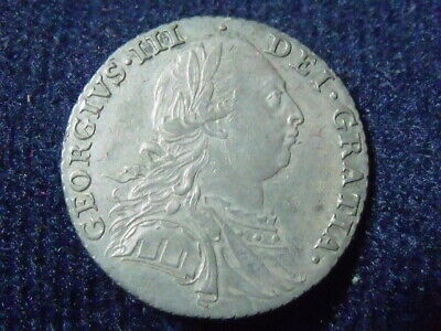 1787 Great Britain King George III Sterling Silver Shilling. Extra Fine. P-31