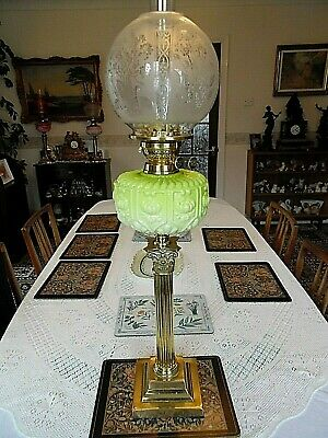 "A Charming Antique Victorian 30"" Tall Mint Green Banquet Table Oil Lamp."