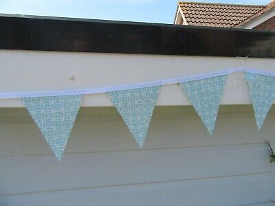Duck Egg Blue Gemetrical Pvc Garden / Indoor Bunting 3 Mtrs Approx 10Ft