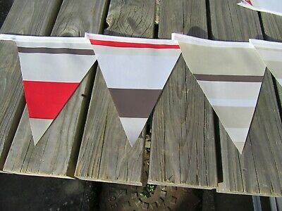 Red/Brown/Biege Stripped Pvc Garden/Indoor Bunting 3Mtrs