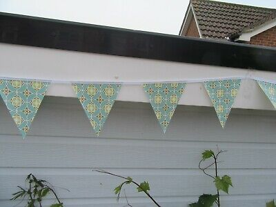 Turquoise Retro Pvc Garden / Indoor Bunting 3 Mtrs Approx 10Ft