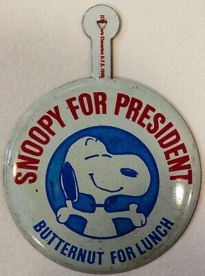 """Vintage Pinback Tin Litho 1960's Peanuts Snoopy for President Butternut Lunch 2"""""""