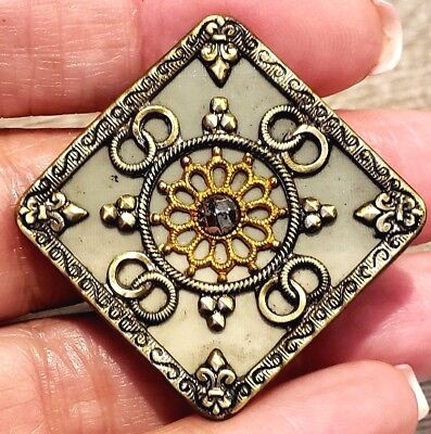Antique Button...Large Victorian Celluloid Square…Lovely Design